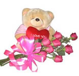 Send this hand tied bouquet of 10 Roses with this cute 6